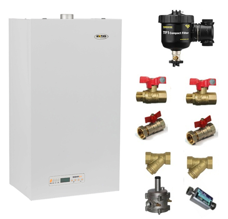 Pachet centrala termica Motan Sigma 24 Erp 24 kw + Filtru anti-magnetita Fernox TF1 + Kit accesorii instalare centrala