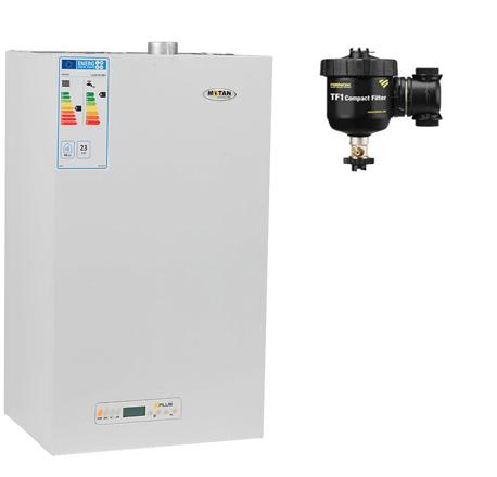 Pachet centrala termica cu tiraj fortat Motan Kplus C22 SPV 23 MEF 23 kW + Filtru anti-magnetita Fernox TF1