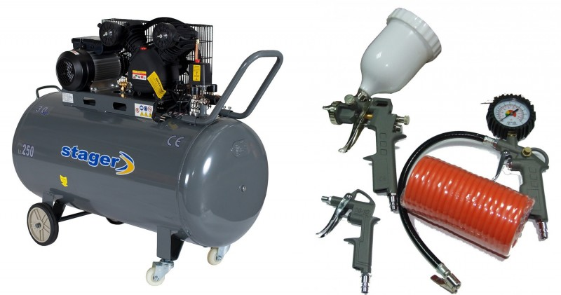Pachet Compresor de aer Stager HM-V-0.25/250 250L 8 BAR + KIT 4 accesorii. Poza 4284