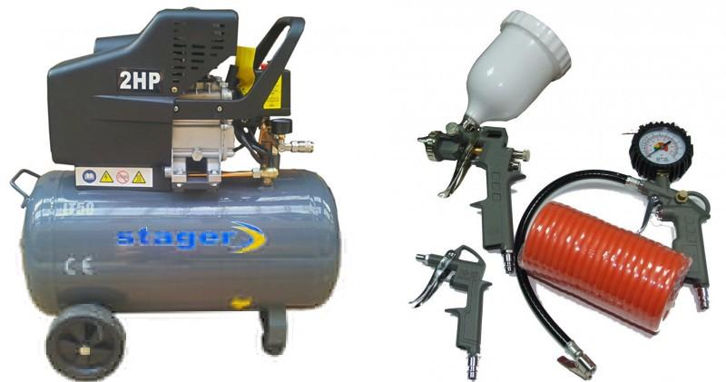 Pachet Compresor de aer Stager HM2050B 50L 8 BAR + KIT 4 accesorii