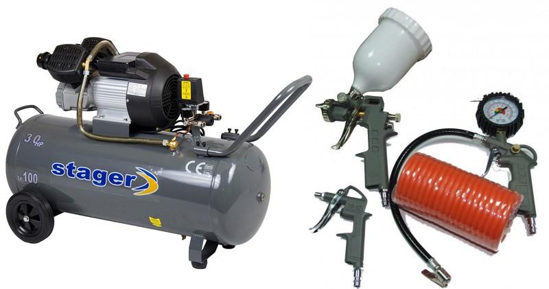 Pachet Compresor de aer Stager HM3100V 3CP, 100L, 8 BAR + KIT 4 accesorii