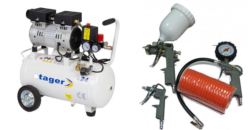 Pachet Compresor de aer Stager HM24JW-0.55 0.75CP 24L 8 BAR + Kit 4 accesorii