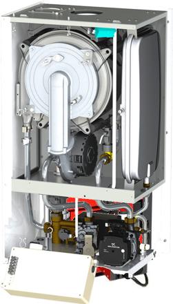 Structura interna centrala termica in condensare Motan MKDens25 25 kW