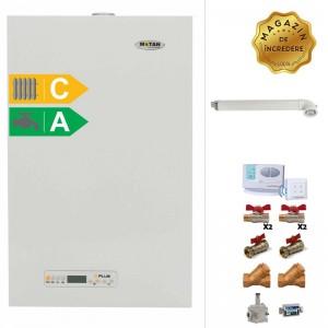 poza Pachet centrala termica cu tiraj fortat Motan Kplus 24 kW + Kit accesorii instalare centrala + Termostat de ambient wireless