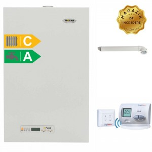 poza Pachet centrala termica cu tiraj fortat Motan Kplus 24 kW + Termostat de ambient wireless
