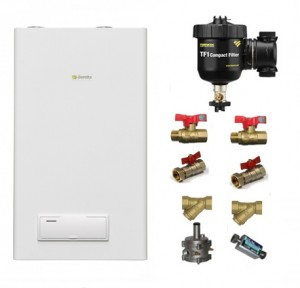 poza Pachet centrala termica pe gaz in condensatie BERETTA-ITALIA Quadra Green 25 CSI ErP - 25 kW + Filtru anti-magnetita Fernox TF1 + Kit instalare centrala