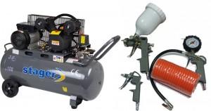 poza Pachet Compresor de aer Stager HM-V-0.25/100 100L 8 BAR + KIT 4 accesorii
