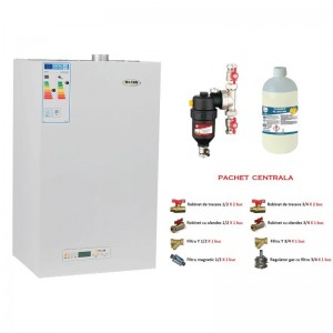 poza Pachet centrala termica cu tiraj fortat Motan Kplus C22 SPV 23 MEF 23 kW + Chemstal Cleanex MAG HF 3/4 + Kit accesorii instalare centrala