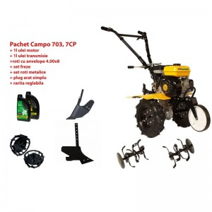 poza Pachet motocultor Progarden Campo 703 benzina, 7CP, 2+1 freze, accesorii PS1, ulei motor si transmisie incluse