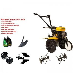 poza Pachet motocultor Progarden Campo 703 benzina, 7CP, 2+1 freze, accesorii PR2, ulei motor si transmisie incluse
