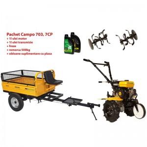 poza Pachet motocultor Progarden Campo 703 benzina, 7CP, 2+1 freze, remorca 500kg, ulei motor si transmisie incluse
