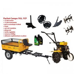 poza Pachet motocultor Progarden Campo 703 benzina, 7CP, 2+1 freze, remorca 500kg, accesorii PS1, ulei motor si transmisie incluse