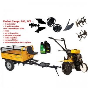 poza Pachet motocultor Progarden Campo 703 benzina, 7CP, 2+1 freze, remorca 500kg, accesorii Pr2, ulei motor si transmisie incluse