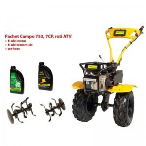 poza Pachet motocultor Progarden Campo 753, benzina, 2+1 trepte, roti ATV, ulei motor si transmisie inclusa