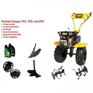 poza Pachet motocultor Progarden Campo 753, benzina, 2+1 trepte, roti ATV, accesorii PS1, ulei motor si transmisie inclusa