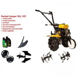 poza Pachet motocultor Progarden Campo 753, benzina, 2+1 trepte, roti ATV, accesorii PR2, ulei motor si transmisie inclusa