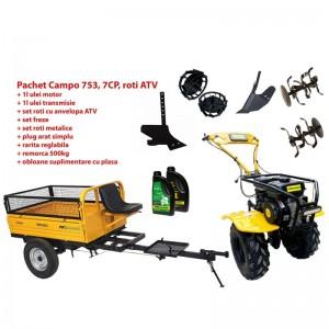 poza Pachet motocultor Progarden Campo 753, benzina, 2+1 trepte, roti ATV, remorca 500kg, accesorii PS1, ulei motor si transmisie inclusa