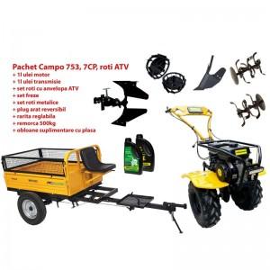 poza Pachet motocultor Progarden Campo 753, benzina, 2+1 trepte, roti ATV, remorca 500kg, accesorii PR2, ulei motor si transmisie inclusa