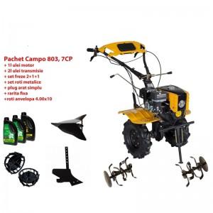 poza Pachet motocultor Progarden Campo 803 benzina, 7CP, 2+1 trepte, 2+1+1 freze, plug bilonat, accesorii PS1, ulei motor si transmisie incluse