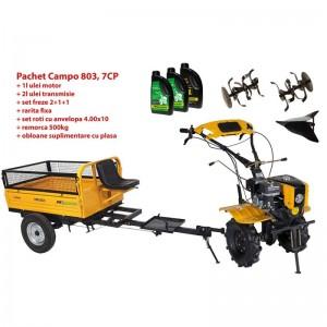 poza Pachet motocultor Progarden Campo 803 benzina, 7CP, 2+1 trepte, 2+1+1 freze, plug bilonat, remorca 500kg, ulei motor si transmisie incluse