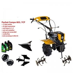 poza Pachet motocultor Progarden Campo 803 benzina, 7CP, 2+1 trepte, 2+1+1 freze, plug bilonat,  accesorii PR2, ulei motor si transmisie incluse