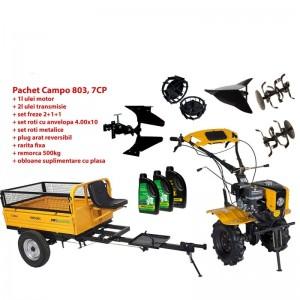 poza Pachet motocultor Progarden Campo 803 benzina, 7CP, 2+1 trepte, 2+1+1 freze, plug bilonat,  remorca 500kg, accesorii PR2, ulei motor si transmisie incluse