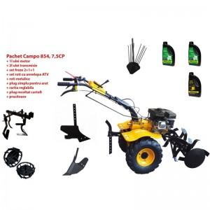poza Pachet motocultor Progarden Campo 854, benzina, 7.5CP, 2+1 trepte, roti atv, manicot rulment, accesorii PS1, ulei motor si transmisie incluse