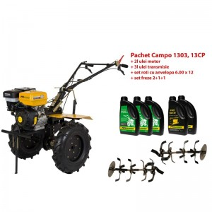poza Pachet motocultor Progarden Campo 1303, benzina, 13CP, 2+1 trepte, ulei motor si transmisie incluse