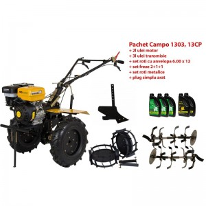 poza Pachet motocultor Progarden Campo 1303, benzina, 13CP, 2+1 trepte, accesorii, ulei motor si transmisie incluse