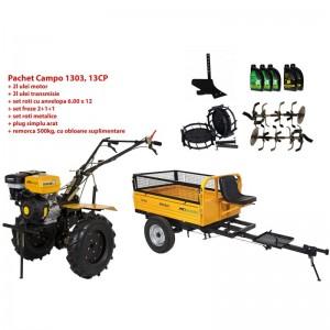 poza Pachet motocultor Progarden Campo 1303, benzina, 13CP, 2+1 trepte, remorca 500kg, accesorii, ulei motor si transmisie incluse