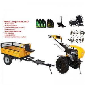 poza Pachet motocultor Progarden Campo 1603, benzina, 13CP, 2+1 trepte, remorca 500kg, accesorii, ulei motor si transmisie incluse