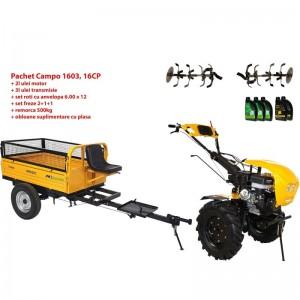 poza Pachet motocultor Progarden Campo 1603, benzina, 13CP, 2+1 trepte, remorca 500kg, ulei motor si transmisie incluse