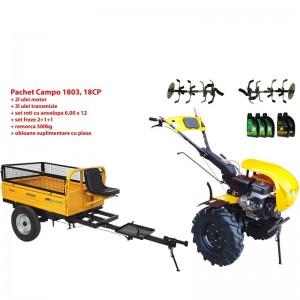 poza Pachet motocultor Progarden Campo 1803, benzina, EURO5, 18CP, 2+1 trepte, remorca 500kg, ulei motor si transmisie incluse